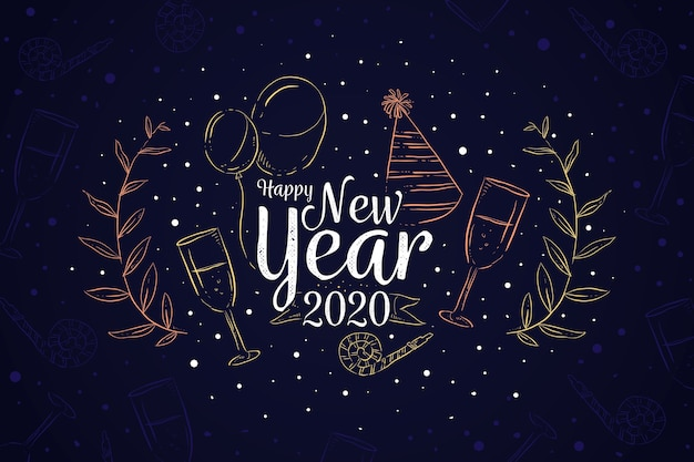 新年の手描きの背景