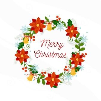 Плоский рождественский венок с приветствием