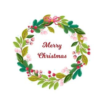 挨拶と水彩のクリスマスリース