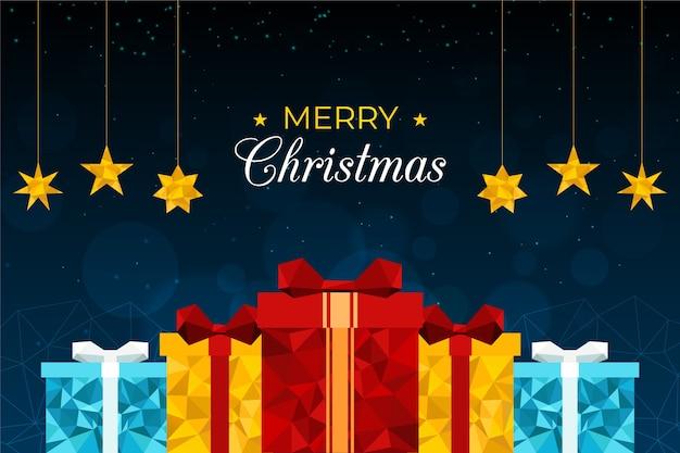 Рождественский фон в стиле многоугольника