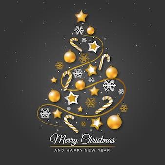 現実的な黄金の装飾図のクリスマスツリー