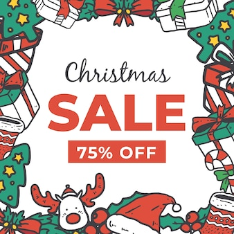 Рисованной рождественские продажи концепции