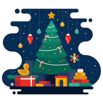 Фон плоские рождественские игрушки