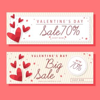 Продажа баннеров на день святого валентина в плоском дизайне