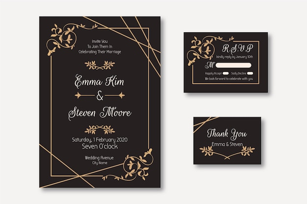Элегантный шаблон свадебного приглашения