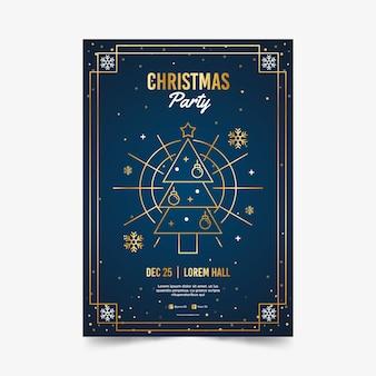 アウトラインスタイルのクリスマスパーティーポスターテンプレート