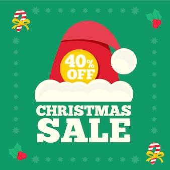 Рождественская распродажа в плоском дизайне
