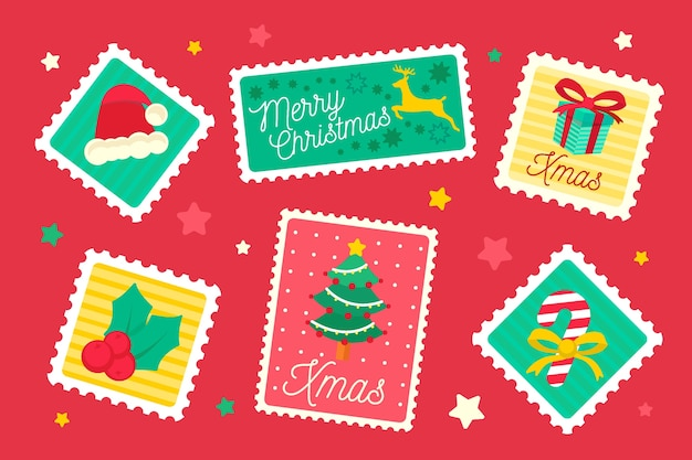Рождественская коллекция марок в плоском дизайне