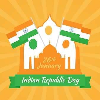 フラットなデザインのインド共和国記念日