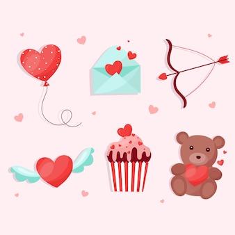 Коллекция элементов в день святого валентина в плоском дизайне