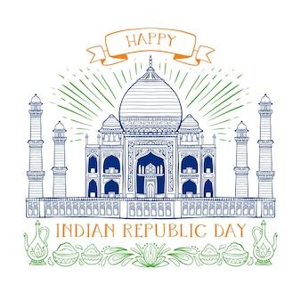 Ручной обращается индийский день республики концепция