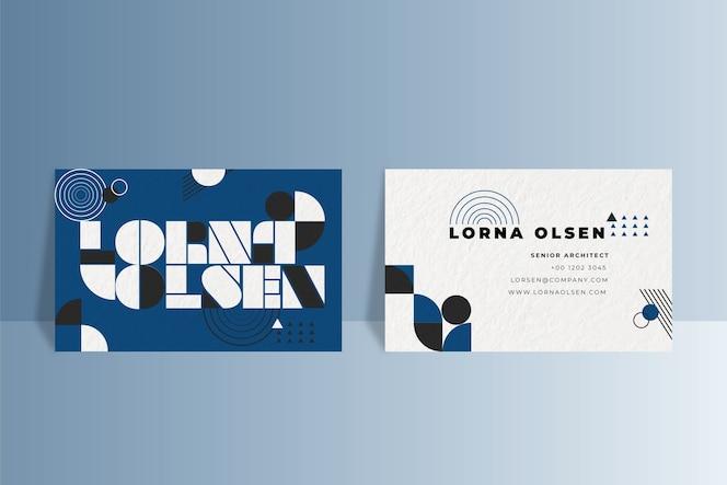 Геометрическая визитка на классическом синем цвете