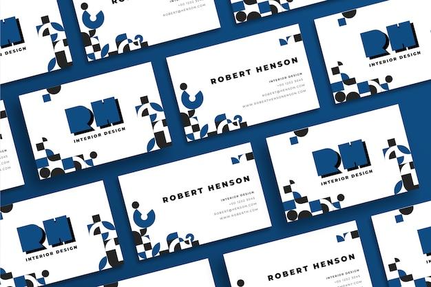古典的な青い色の幾何学的な名刺