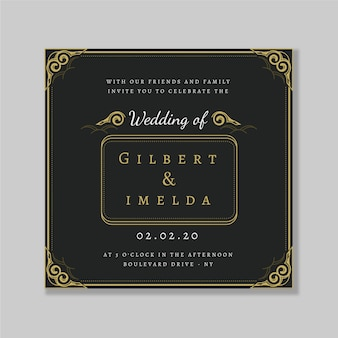 Свадебные приглашения ретро шаблон
