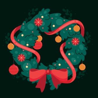Плоский дизайн концепции рождественский венок