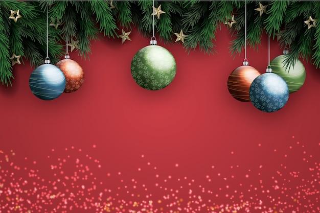 背景の現実的な装飾クリスマス