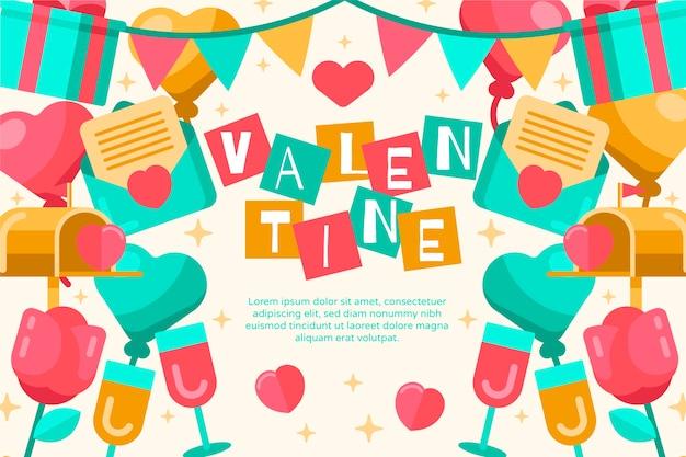 День святого валентина фон в плоском дизайне