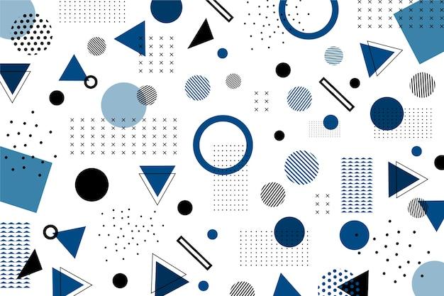 古典的な青の平らな幾何学的図形の背景