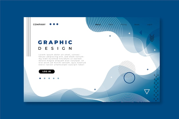 古典的な青の抽象的なランディングページテンプレート