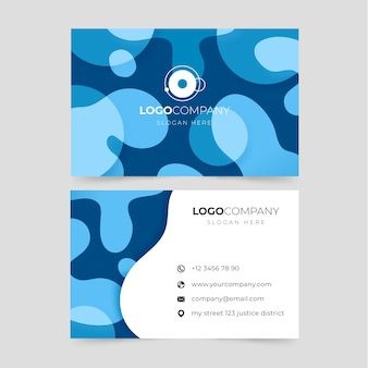 Синяя визитная карточка