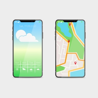 地図アプリケーションを備えたスマートフォンの新しいモデルの現実的なデザイン