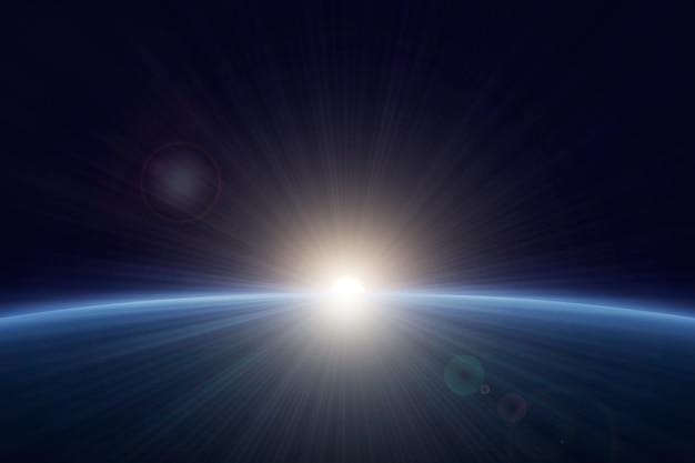 白い地球の日の出の光の効果