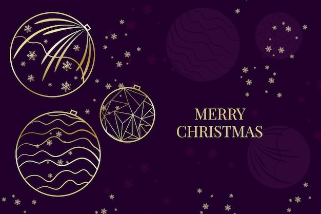 アウトラインスタイルのクリスマス雪とボールの背景