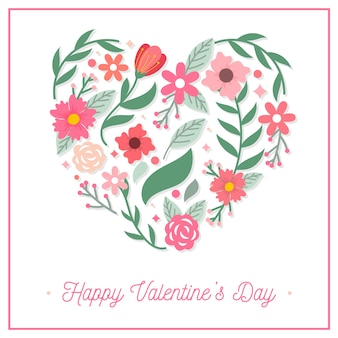 Плоский день святого валентина фон с цветами