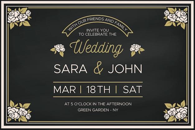 レトロな花柄ボーダーの結婚式の招待状のテンプレート