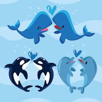 かわいいバレンタインの日の動物のカップル