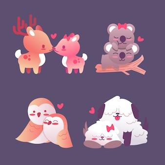 カラフルなバレンタインデーの動物のカップル