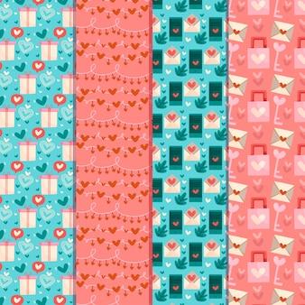 フラットなデザインのバレンタインの日パターンのコレクション