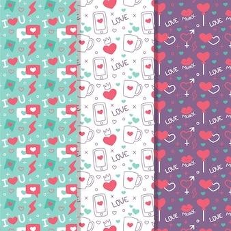 フラットなデザインのカラフルなバレンタインのパターンコレクション