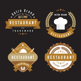 Ресторан ретро логотип коллекции со столовыми приборами