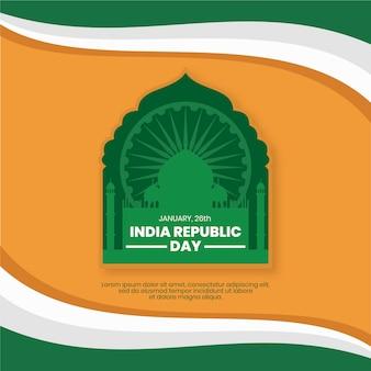 インドのデザインと旗のフラットデザイン