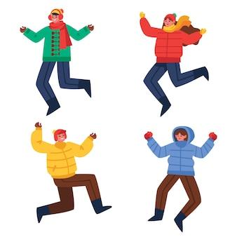 ジャンプの冬の服を着ている若い人たち