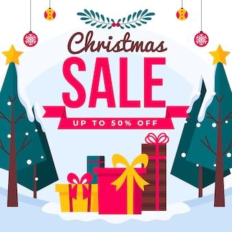 Плоская рождественская распродажа традиции