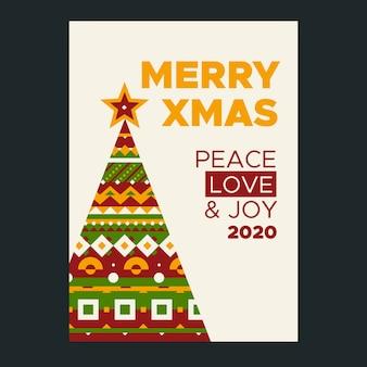 カラフルな幾何学図形をクリスマスポスターテンプレート