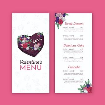 Шаблон меню валентина с цветами