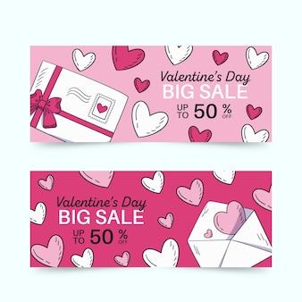 手描きの封筒とバレンタインデーのバナー