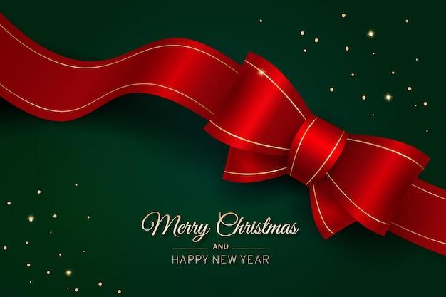 弓でメリークリスマスの赤いリボン