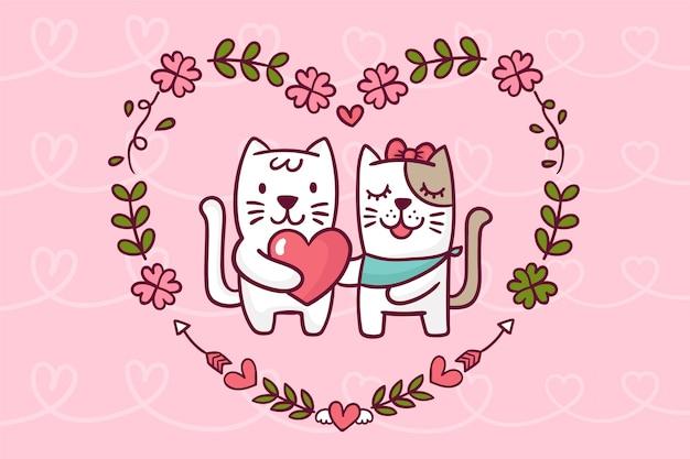 Симпатичные животные день святого валентина фон