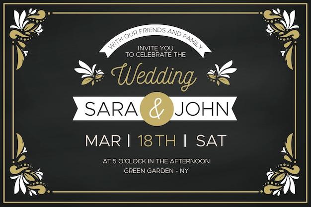 黄金の花のフレームと豪華な結婚式の招待状