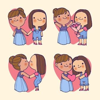 День святого валентина женская пара и сердца