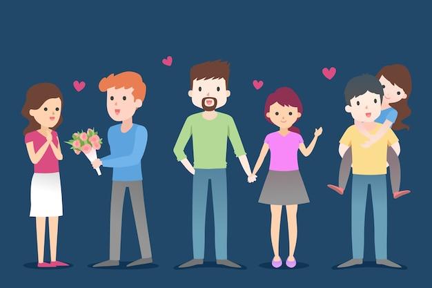 Молодые пары для взрослых на синем фоне