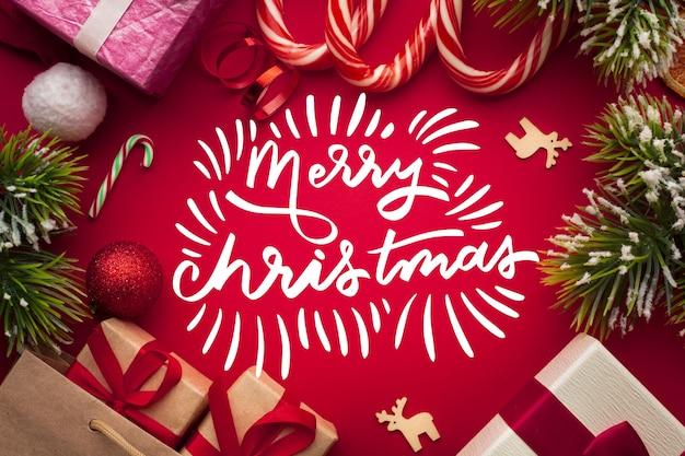 クリスマスのメリークリスマスレタリング