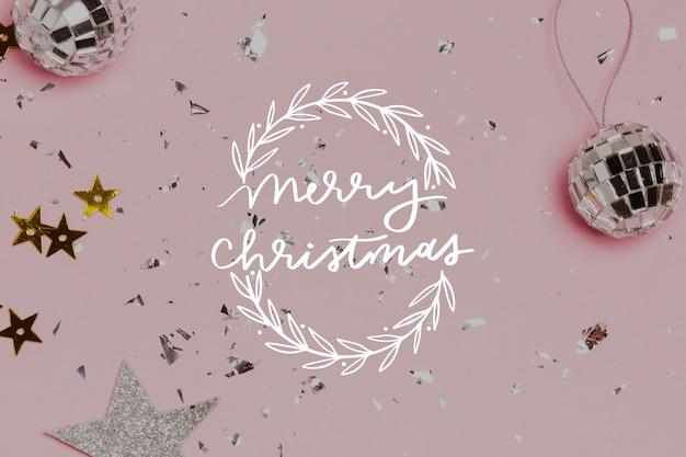 写真とメリークリスマスレタリング