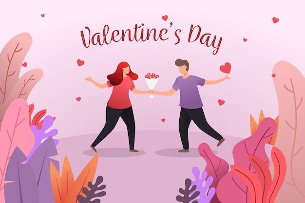 素敵なカップルとフラットバレンタインデーの背景