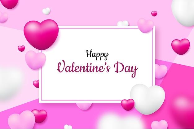 現実的なバレンタインデーの背景と白いカード