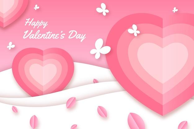 День святого валентина фон в бумажном стиле с сердечками